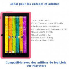 Tablette-PDA rose Tactile 7 pouces Android 4 Wifi Tablette-PDA A23 - 2