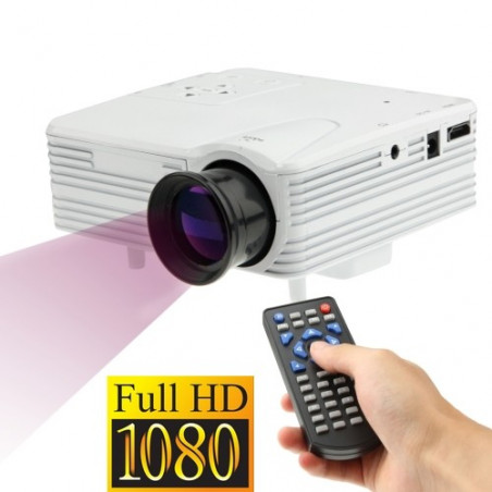 Mini-projecteur HD 1080P Led, Hdmi, Vga, Usb, Sd (blanc)