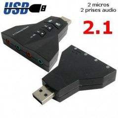 Carte Son 2.1 externe USB (2 micros + 2 audios)