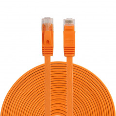 Câble LAN Ethernet Réseau - Cat6 - Longueur 15m - RJ45 - Orange - Ultra fin plat