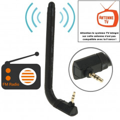 High Quality 6dBi 3.5mm Bending Style Mobile FM & TV Antenna(Black)