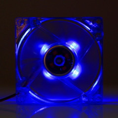 8025 4 Pin DC 12V 0.18A Computer Case Cooler Cooling Fan with LED Light, Size: 80x80x25mm (Dark Blue)