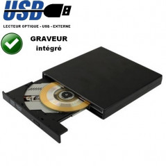 Lecteur Graveur CD externe USB - Port SATA - Optique - DVD / CD RW - Noir OPTICAL DRIVE - 1