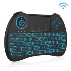 H9 2.4GHz Mini Wireless Air Mouse QWERTY Keyboard with Colorful Backlight & Touchpad for PC, TV(Black)