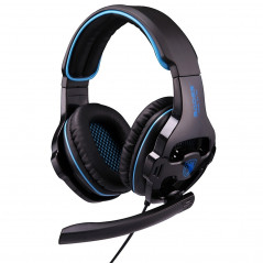 SADES SA-810 3.5mm Gaming Headset Wired Headphone with Wire Control + Mic for PC, Laptop (Black+Blue)