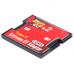 Adaptateur de carte mémoire Compact Flash 2-Socket Micro SD vers CF