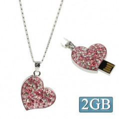 Pink heart-shaped Diamond Necklace Style USB Flash Disk (2GB)