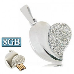 Silver Heart Shaped Diamond Jewelry USB Flash Disk, Special for Valentines Day Gifts (8GB)