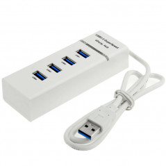 HUB Blanc 4 Ports USB 3.0 Transfert 5Gbps Témoin LED Plug and Play