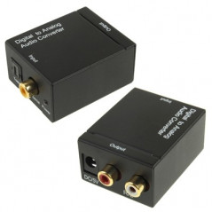 Digital Optical Coaxial Toslink to Analog RCA Audio Converter(Black)