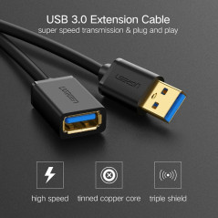 Ugreen 50cm USB 3.0 Male to Female Data Sync Super Speed Transmission Extension Cord Cable