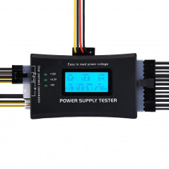 Digital LCD Display PC Computer 20/24 Pin Power Supply Tester Checker Power Measuring Diagnostic Tester Tool(Black)