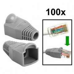 100 pcs Network Cable Boots Cap Cover for RJ45, Grey