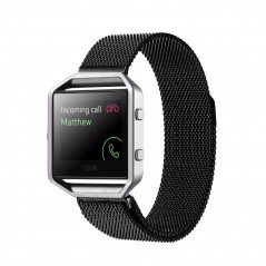 For Fitbit Blaze Watch Loop Magnetic Closure Clasp Stainless Steel Watchband(Black)
