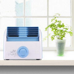 30W Turbine No Blade Mini Desktop Mute Fan for Dormitory / Bedroom / Living Room / Office, 3 Kinds Speed Modes, AC 220V(Blue)