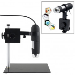 Microscope numérique 1.3 Mega Pixels, x 1000, USB, Lampe 8 LED, Support