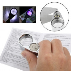 Full Metal Coating 40 x 25mm Magnifying Glass Magnifier with 2-LED Light for Jewelry Identifying & Money Detector Light(Silver)