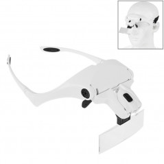 5 Lens 1.0X-3.5X Loupe Glasses Bracket Headband Magnifier with 2 LED Lights Eye Magnification Goggles Magnifying Tool(White)