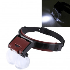 Multi-function Adjustable Maintenance Dentistry Reading Head Magnifier with 2 LED Light & 4 Lenses (1.7X, 2X, 2.5X, 4X)