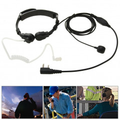 Throat control Transceiver Earpiece Headset for Walkie Talkies, 3.5mm + 2.5mm Plug(Black)