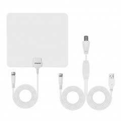 Ultra-thin Indoor HD Digital TV Antenna with 50 Miles Long Range Amplifier(White)