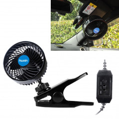 HUXIN HX-T603 9W 6inch 360 Degree Adjustable Rotation Clip One Head Low Noise Mini Electric Car Fan with Gear Switch, DC12V