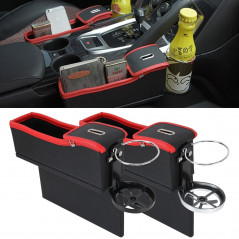 2 PCS Car Seat Crevice Storage Box with Interval Cup Drink Holder Organizer Auto Gap Pocket Stowing Tidying for Phone Pad Card C