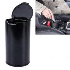 JG-036 Universal Portable Car Auto Stainless Steel Trash Rubbish Bin Ashtray for Most Car Cup Holder (Black)