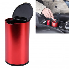 JG-036 Universal Portable Car Auto Stainless Steel Trash Rubbish Bin Ashtray for Most Car Cup Holder (Red)