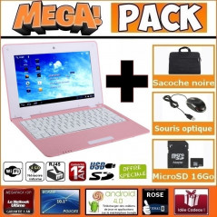 MEGA Pack- Netbook Rose 10 pouces 4Go Android +Sacoche +Souris +Micro SD 16Go MEGAPACK NETBOOK 10 POUCES - 1