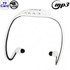 Casque de sport - Lecteur MP3 WMA - Port Micro-SD et USB - Blanc et noir MP3 Player - 1