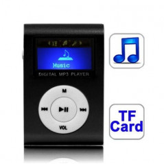 TF (Micro SD) Card Slot MP3 Player with LCD Screen, Metal Clip(Black)