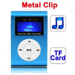 TF (Micro SD) Card Slot MP3 Player with LCD Screen, Metal Clip(Baby Blue)