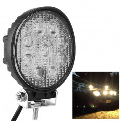 Round Shape 27W Bridgelux 2150lm 9 LED White Light Condenser Engineering Lamp / Waterproof IP67 SUVs Light, DC 10-30V(Black)