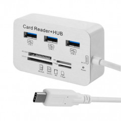 2 en 1 USB 3.1 Type-C COMBO 3 Ports 5-10 GBPS HUB MS DUO / SD (HC) / M2 / Lecteur de carte T-Flash avec indication LED pour t