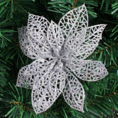 10 PCS 15cm Simulation Hollow Artificial Flower Children Birthday Party Decoration New Year Christmas Decor(Silver) Decorative F